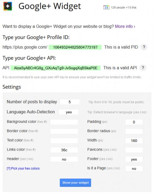 Adicione um widget do Google Plus ao seu site 1