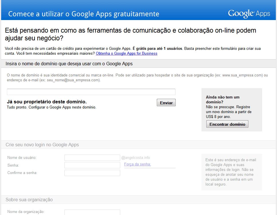 Como conseguir uma conta gratuita no Google Apps 6