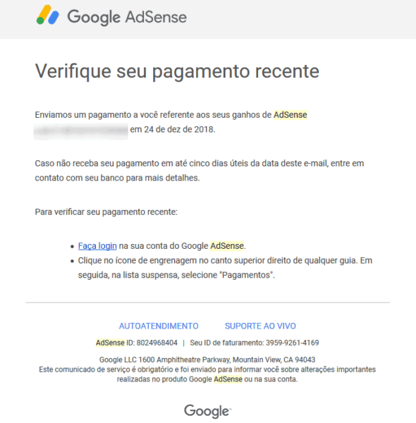 Recebendo pagamento do Adsense pelo Remessa Online 11