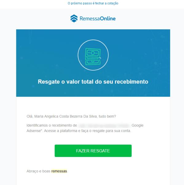 Recebendo pagamento do Adsense pelo Remessa Online 17