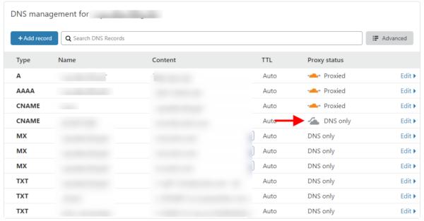 Usando apenas o DNS do Cloudflare (sem DNS e SEM CDN) 1